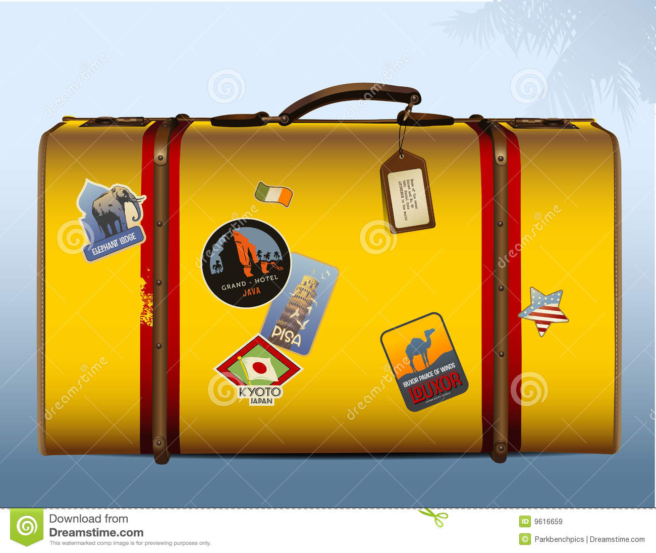 Vintage Yellow Suitcase Royalty Free Stock Images - Image: 9616659