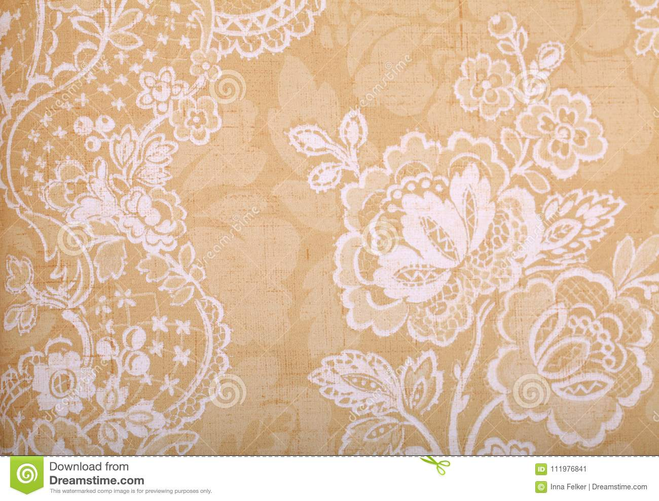 Vintage yellow wallpaper with victorian pattern
