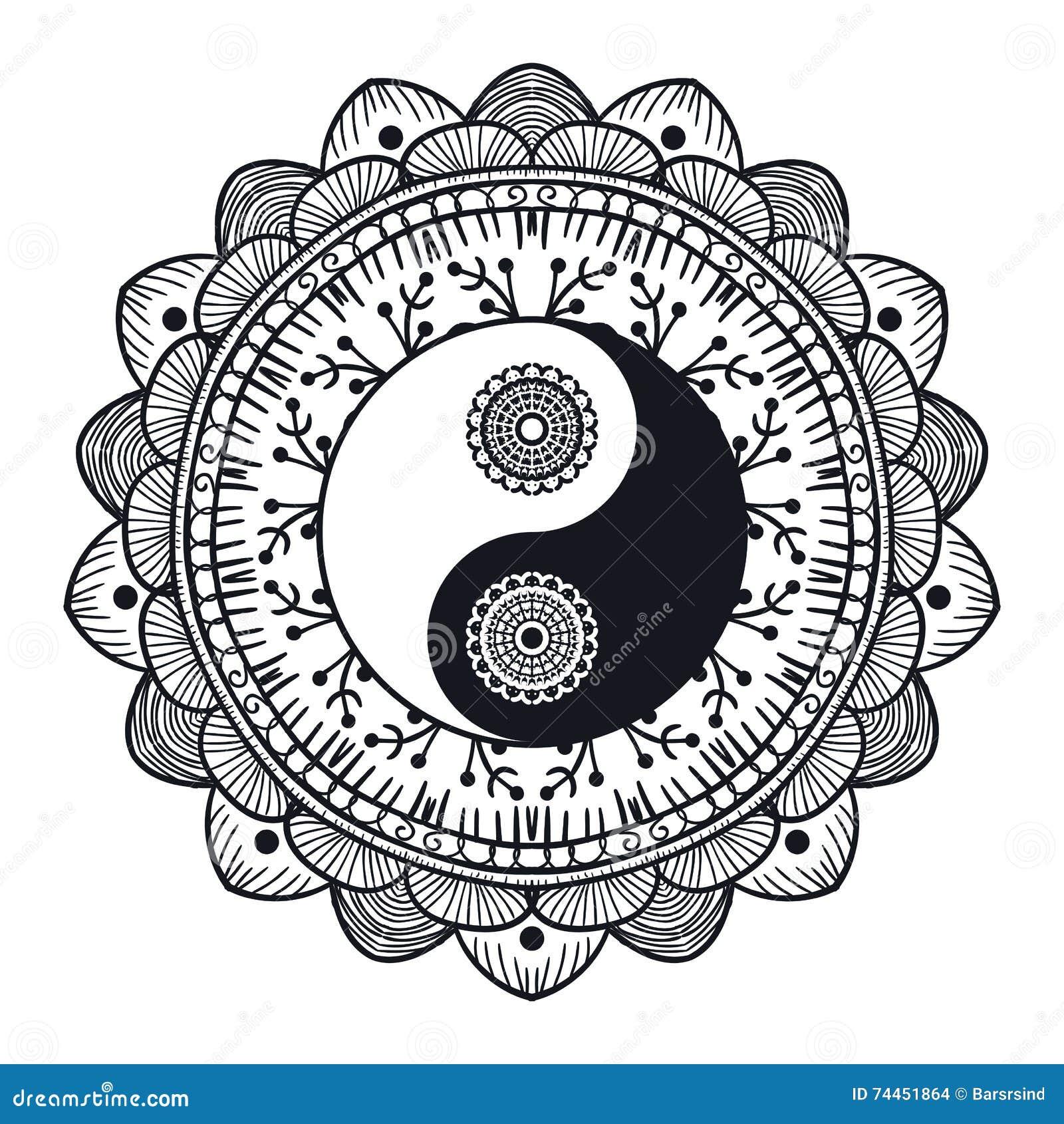Vintage Yin Y Yang En Mandala Stock De Ilustración Ilustración De