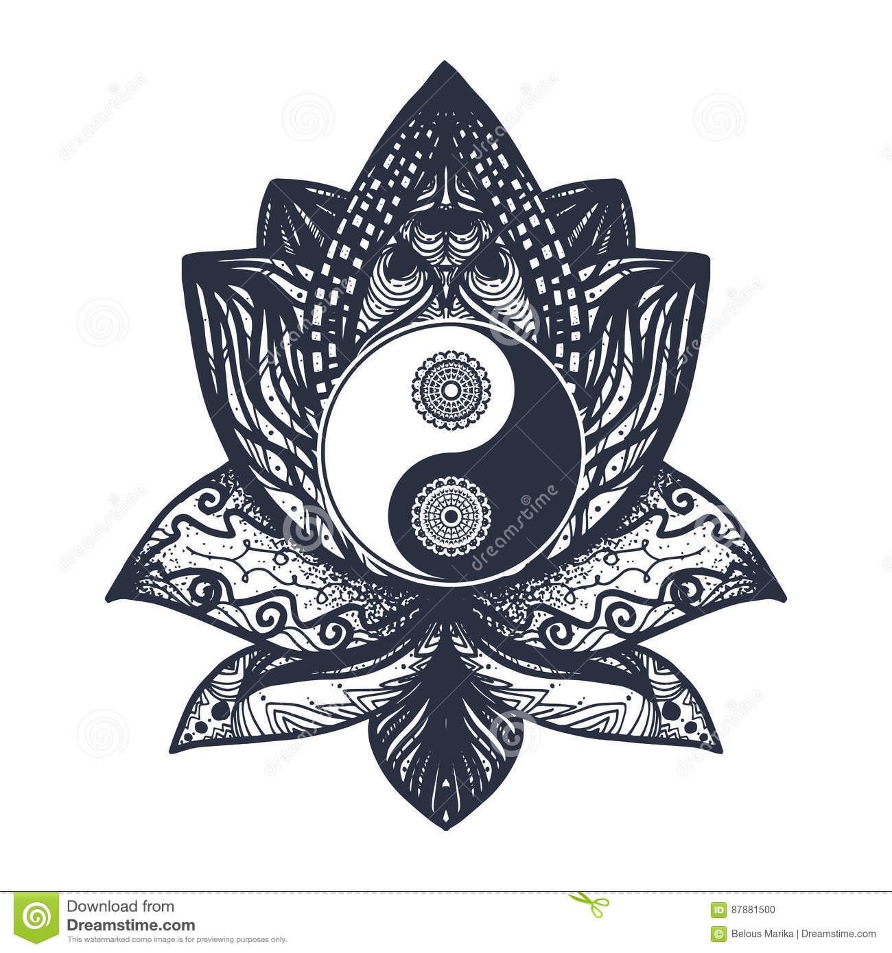 Vintage Yin And Yang In Lotus Stock Illustration Illustration Of