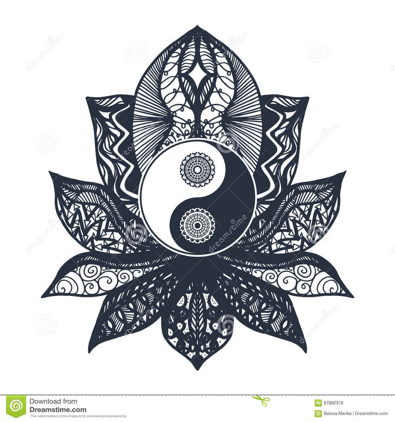 Tao Symbol For Print Tattoo Coloring Bookfabric T Shirt Yoga Henna Cloth In Boho Style Mehndi Occult And Tribal Esoteric Alchemy Sign Vector