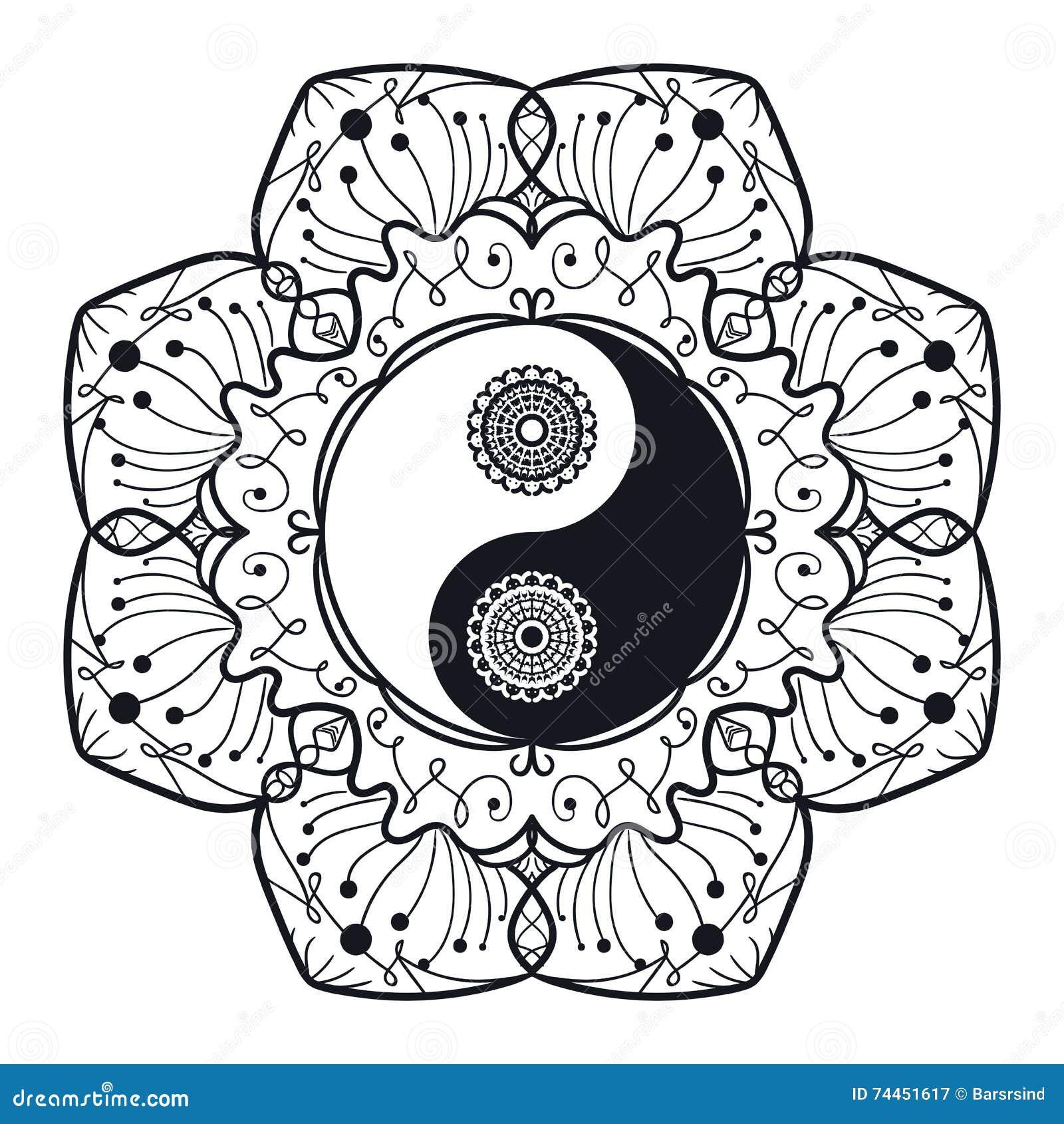 Vintage Yin And Yang In Mandala Stock Illustration Illustration Of