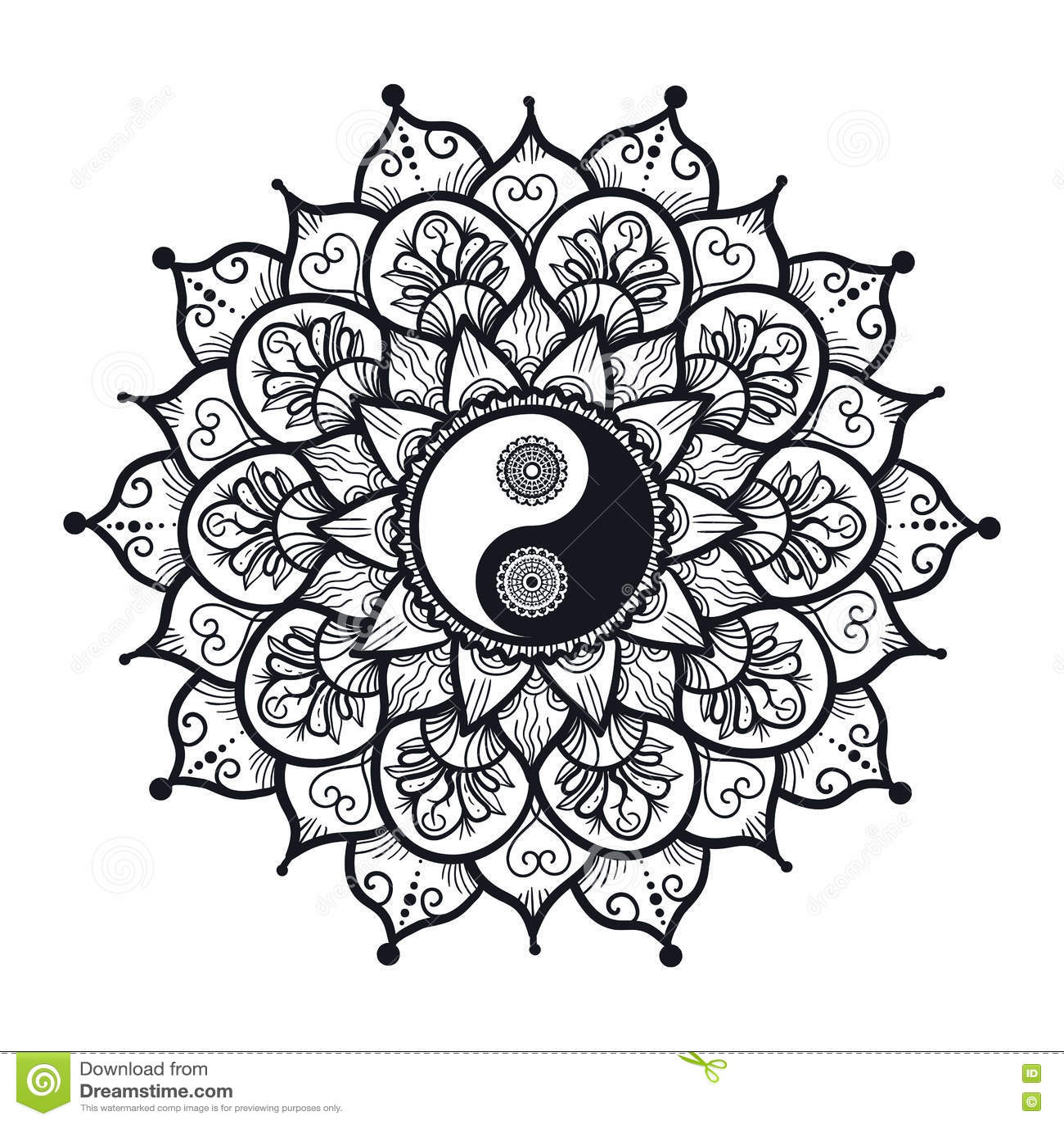 Vintage yin and yang in mandala stock illustration illustration of royalty free illustration buycottarizona Images