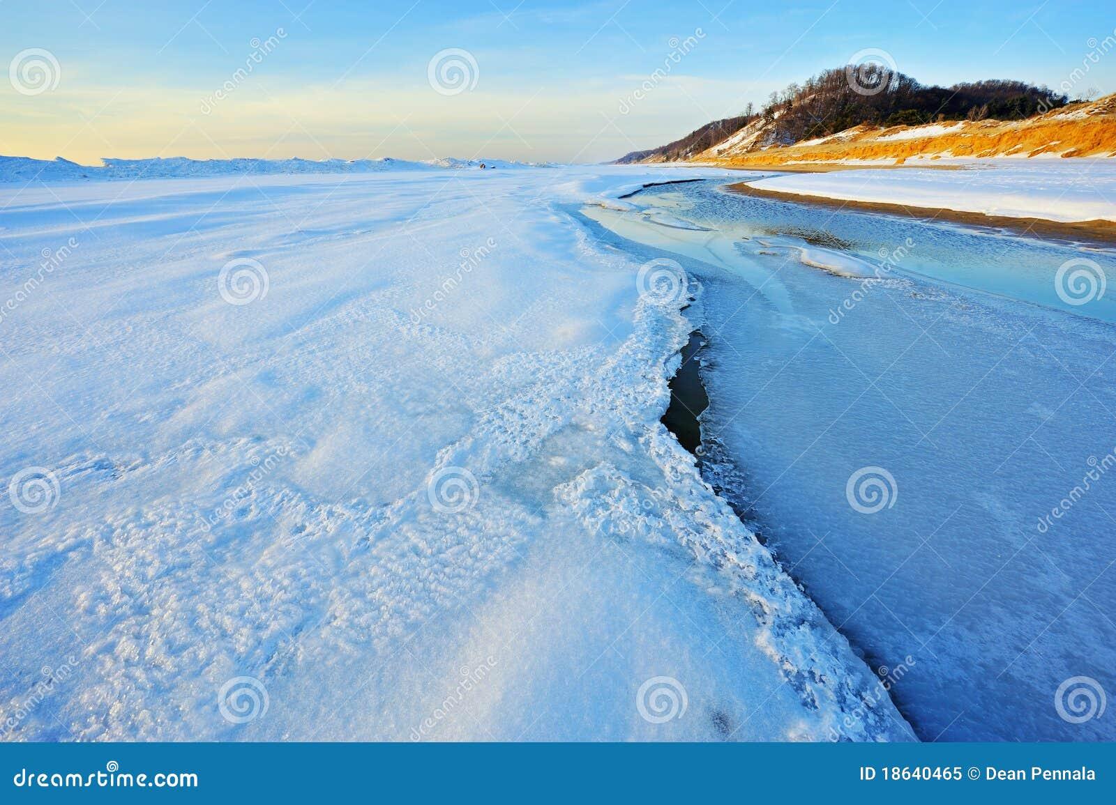 Vinter för lakemichigan shoreline