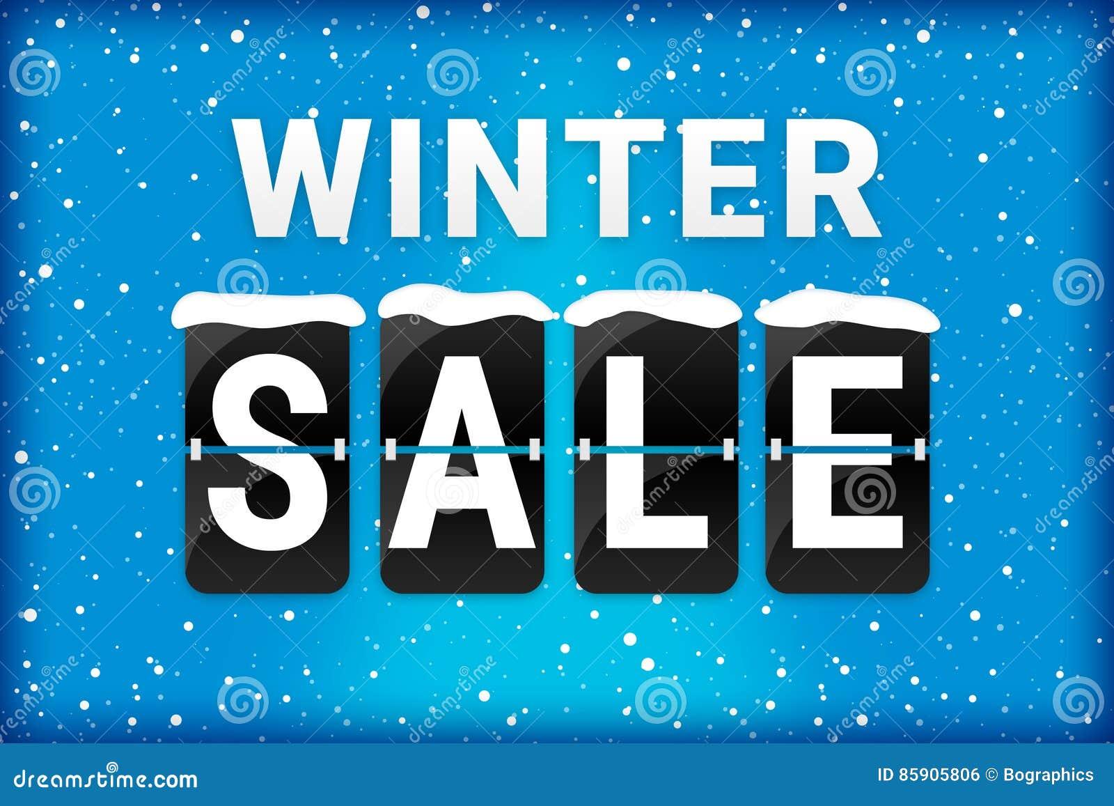 Vinterförsäljningsmotsvarighet som bläddrar textblått