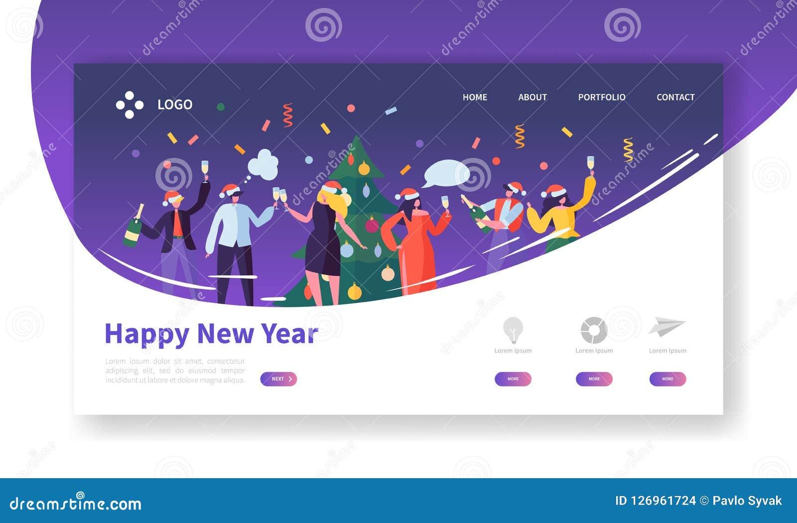 Vinterferier som landar sidamallen Glad jul och Websiteorientering för lyckligt nytt år med plana folktecken