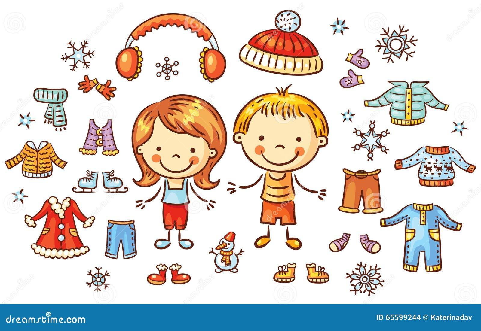 Vinterkläder ställer in för en pojke, och en flicka, objekt kan vara pålagd