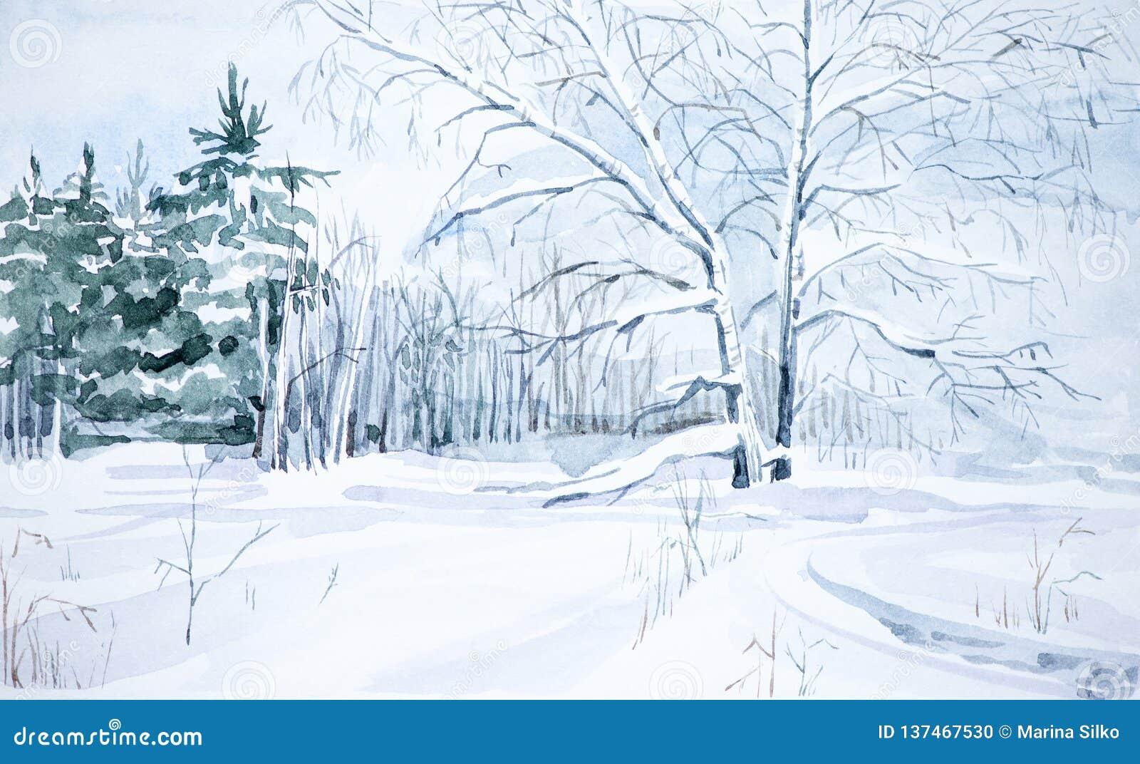 Vinterlandskap av skogen och det snöig fältet Hand dragen vattenfärgillustration