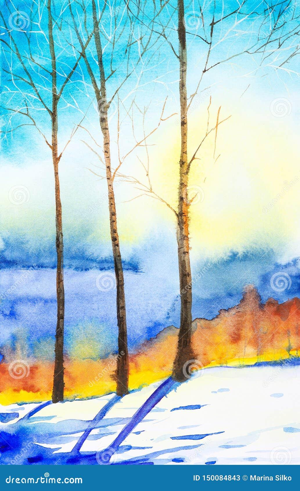 Vinterlandskap av skogen och det sn?ig f?ltet Hand dragen vattenf?rgillustration