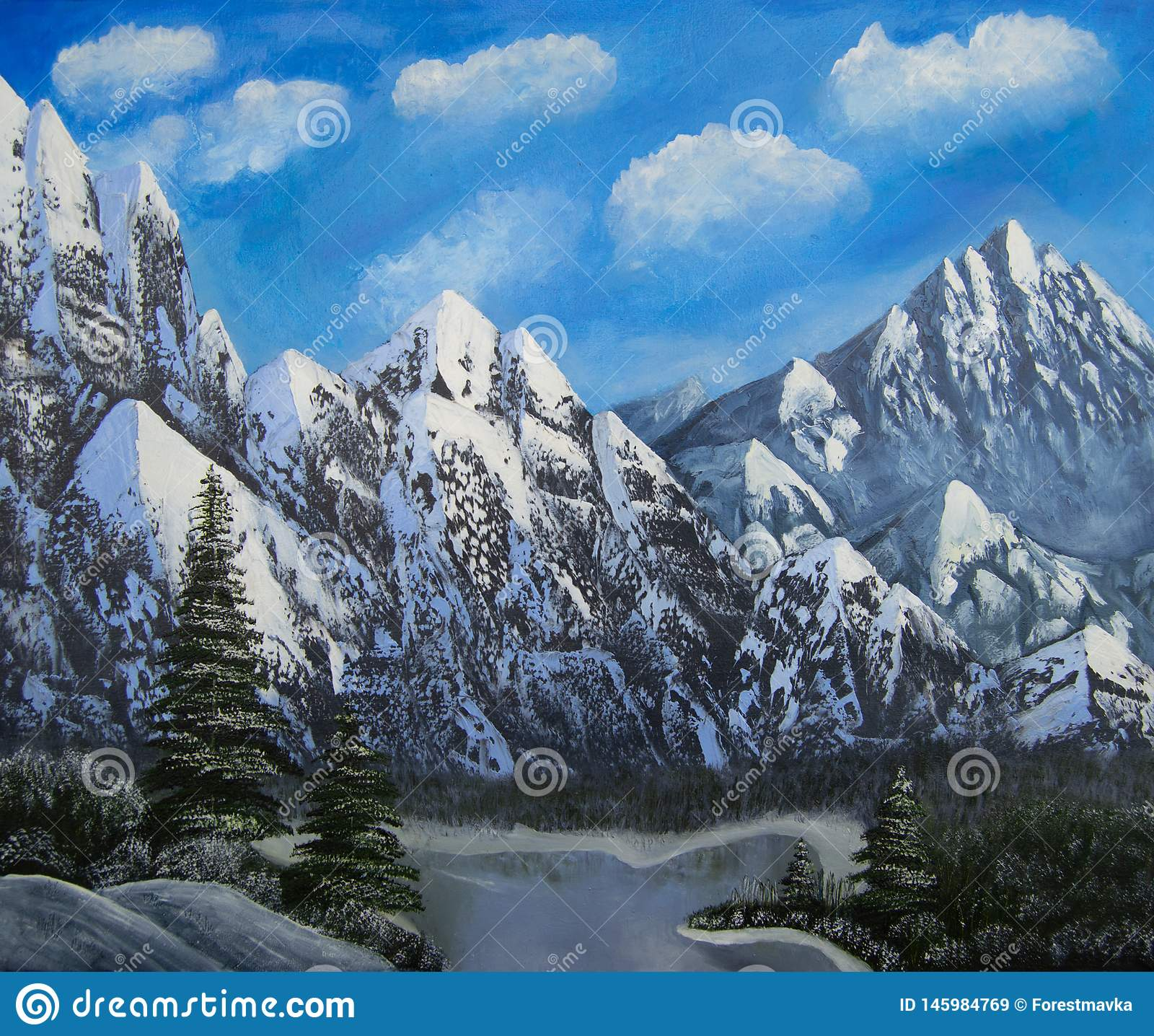 Vinterlandskap med berg