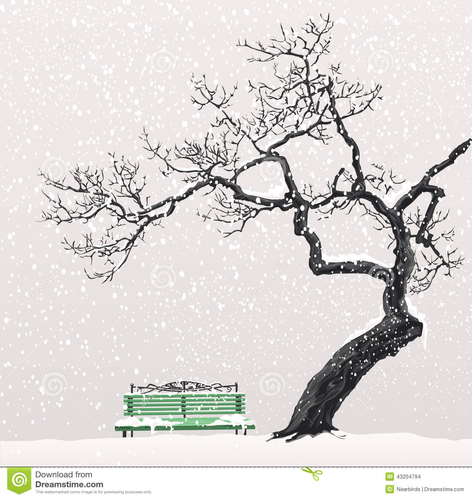 Download Vinterlandskap Med Ett Träd Och En Bänk Vektor Illustrationer - Illustration av utomhus, park: 43204794