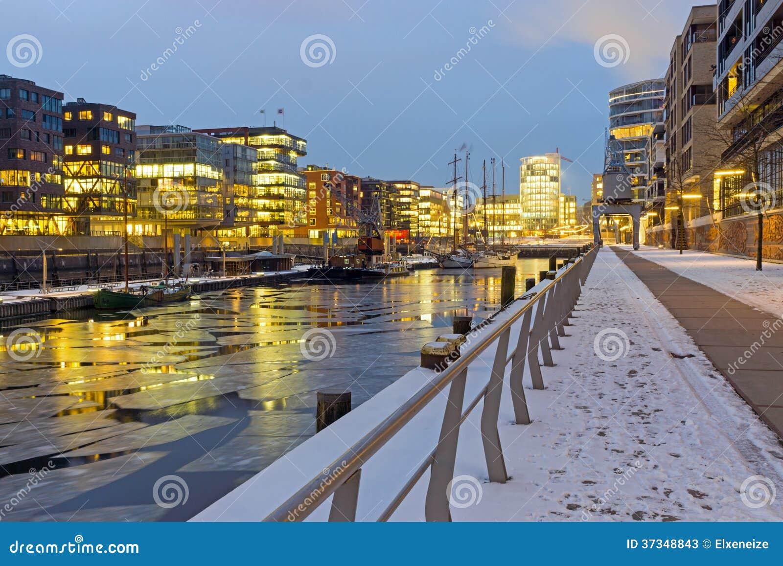 Vinternatt i Hafencityen