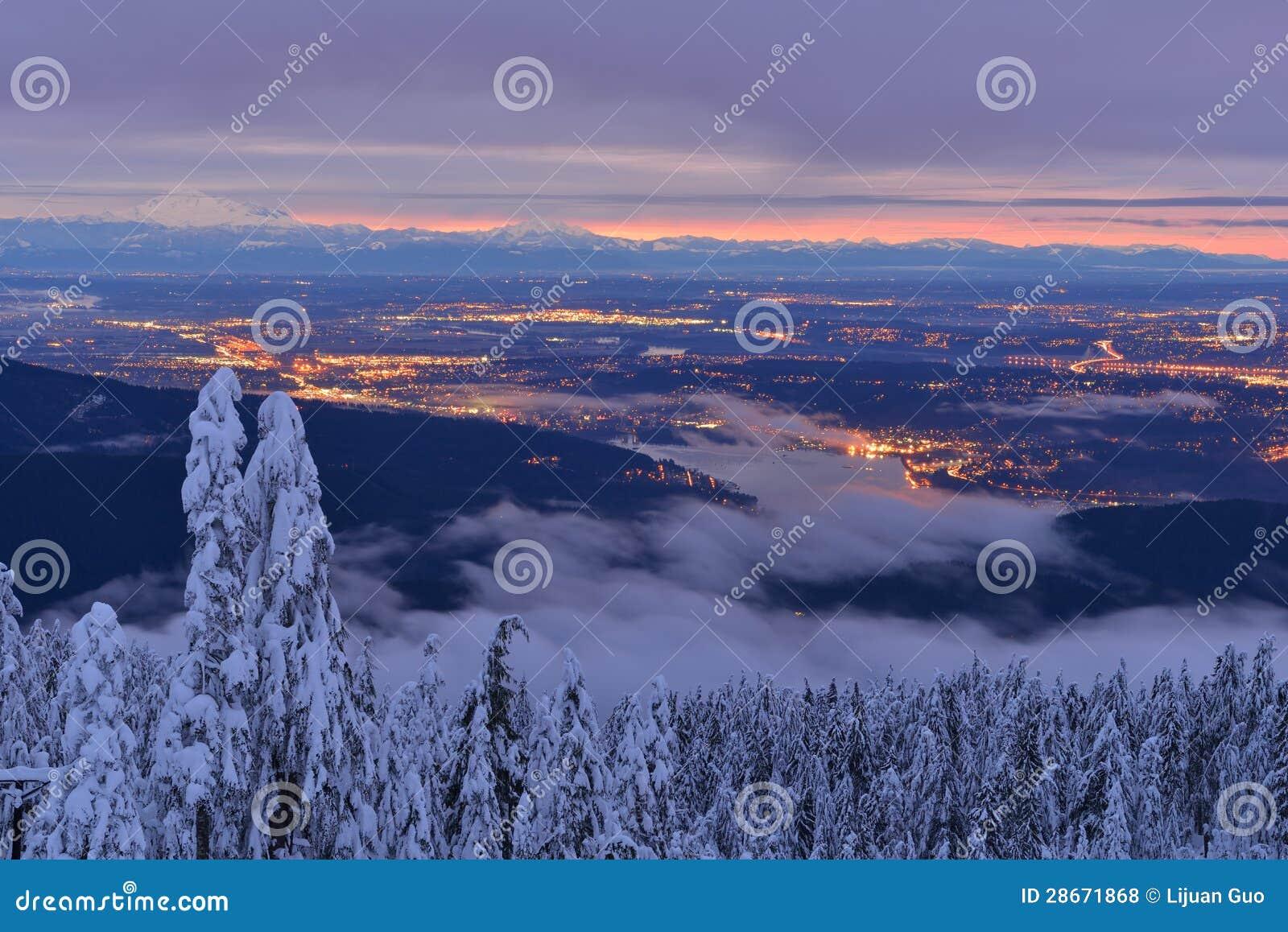 Vintersoluppgång för Mt Seymour