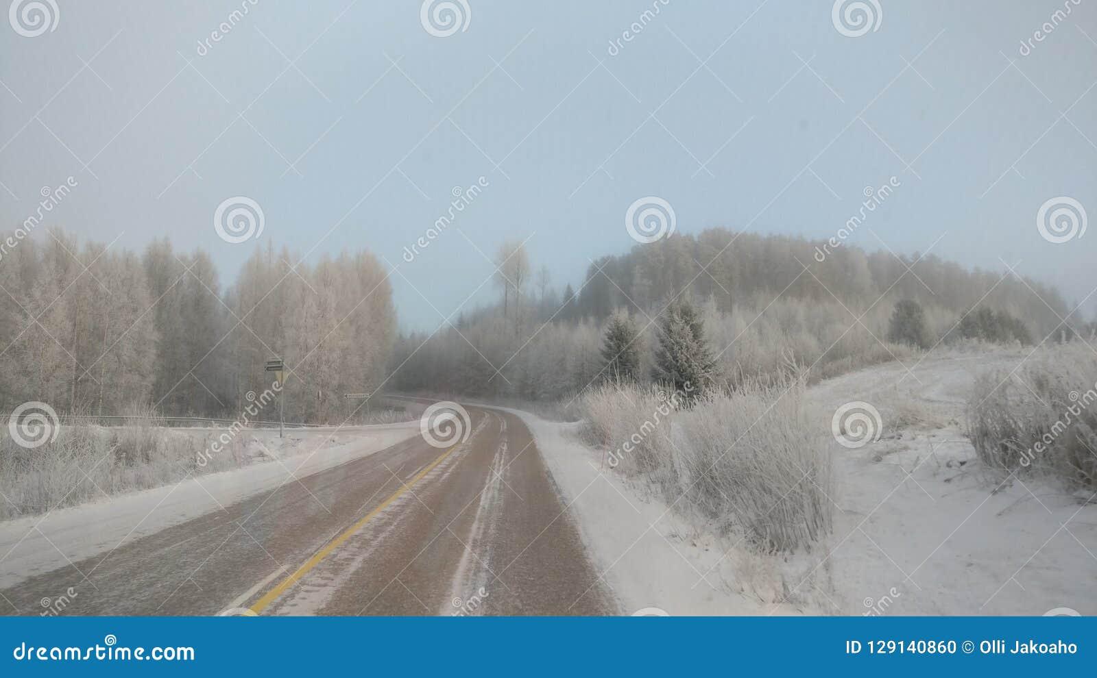 Vintrig väg och sikt i Jämsä
