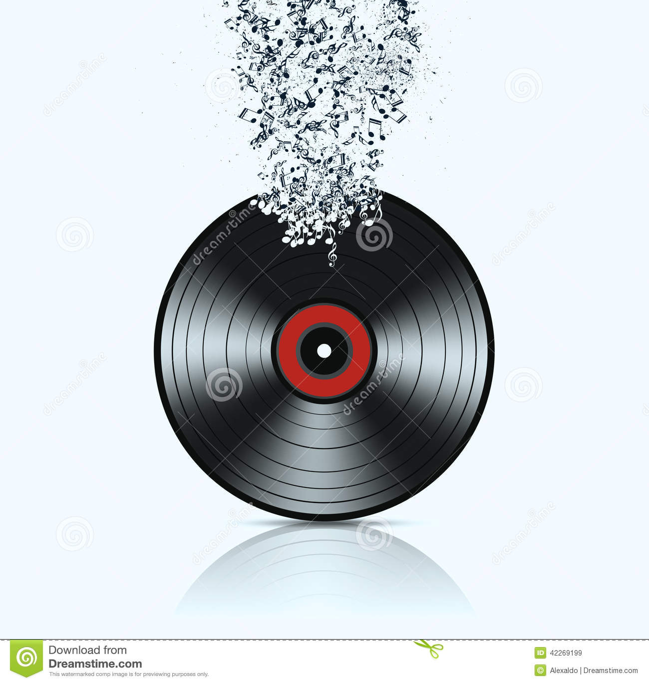 Musical Vinyl Wallpaper: Vinyl Background With Music Notes Stock Photo