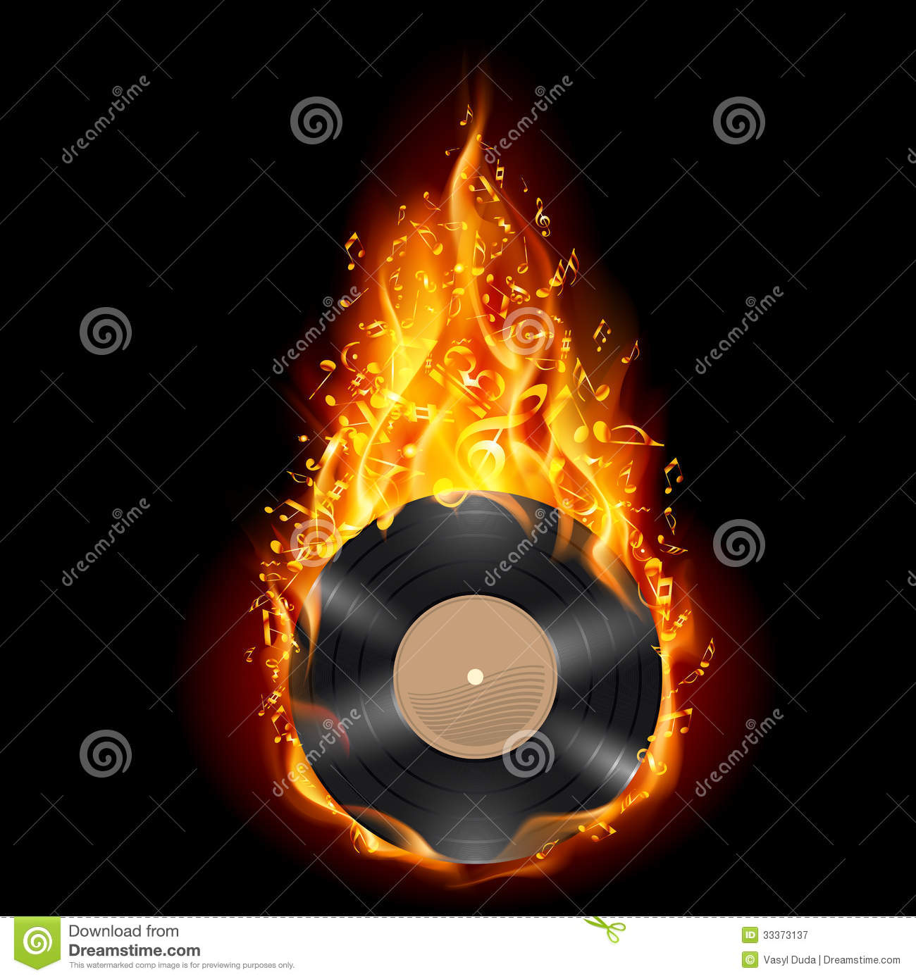 Vinyl Disc In Flames Of Fire Royalty Free Stock