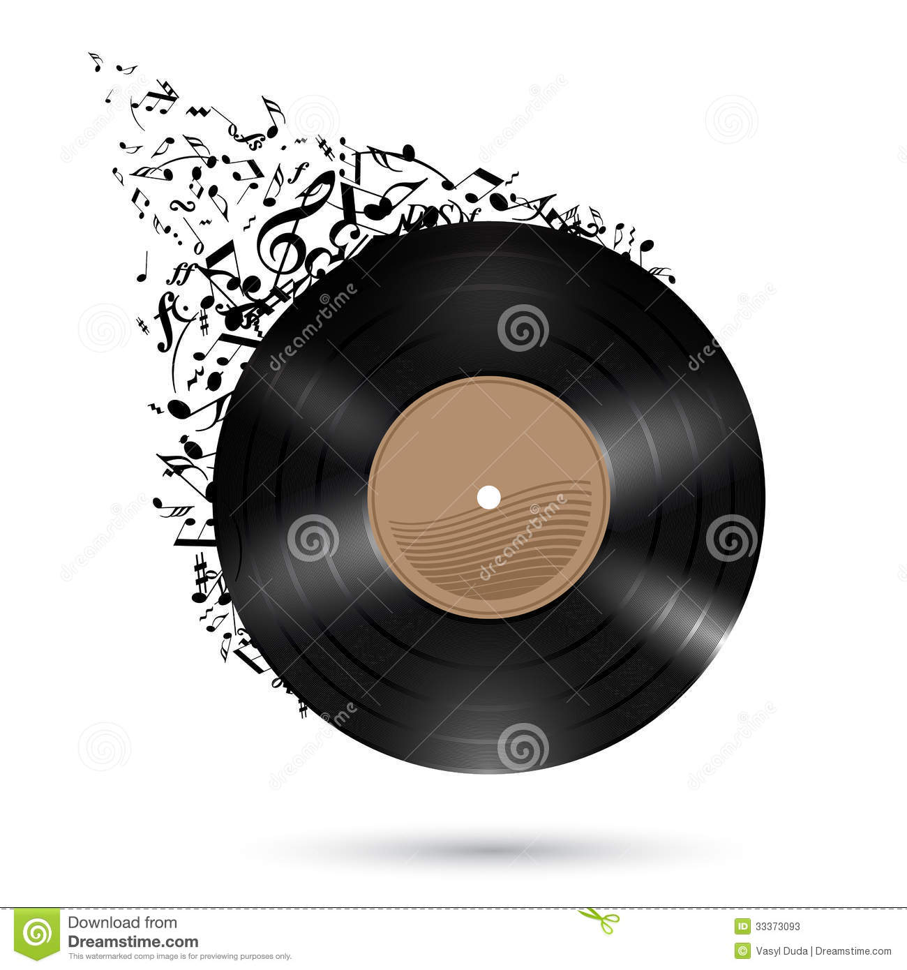Vinyl Disc With Music Notes Stock Vector Image 33373093