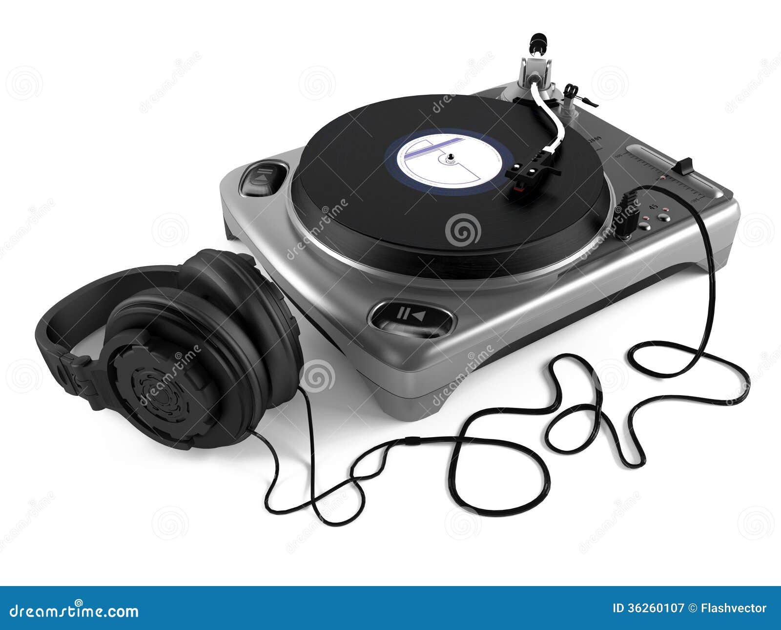 Vinyl Dj Player With Headphones Turntable Royalty Free