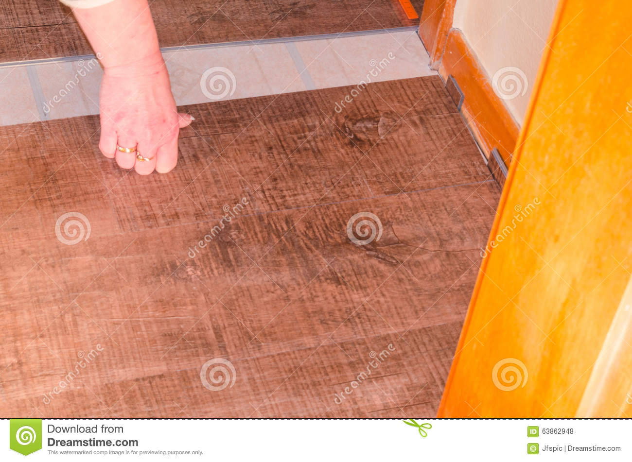 Vinyl laminate floor in the old building stock photo for Laminate floor covering