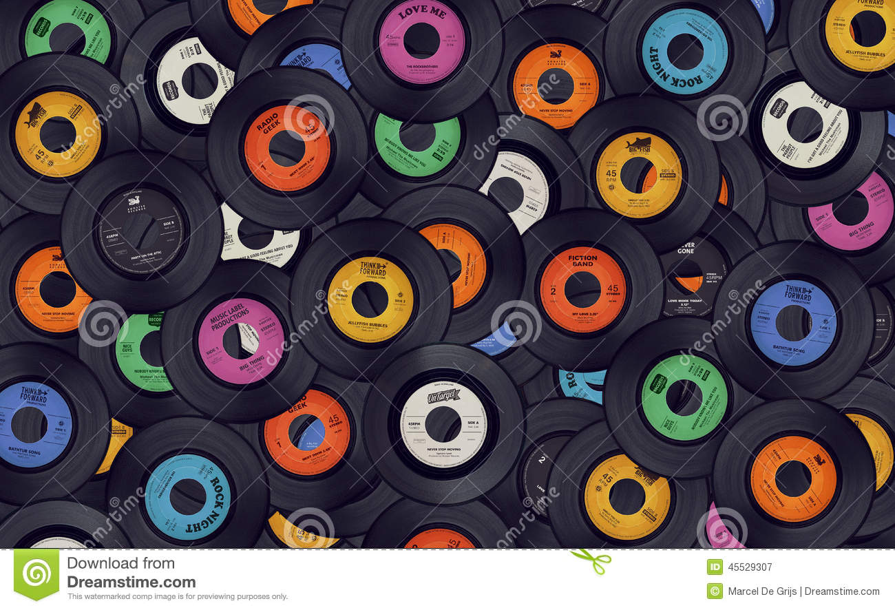 Vinyl Music Records Background Stock Photo - Image: 45529307