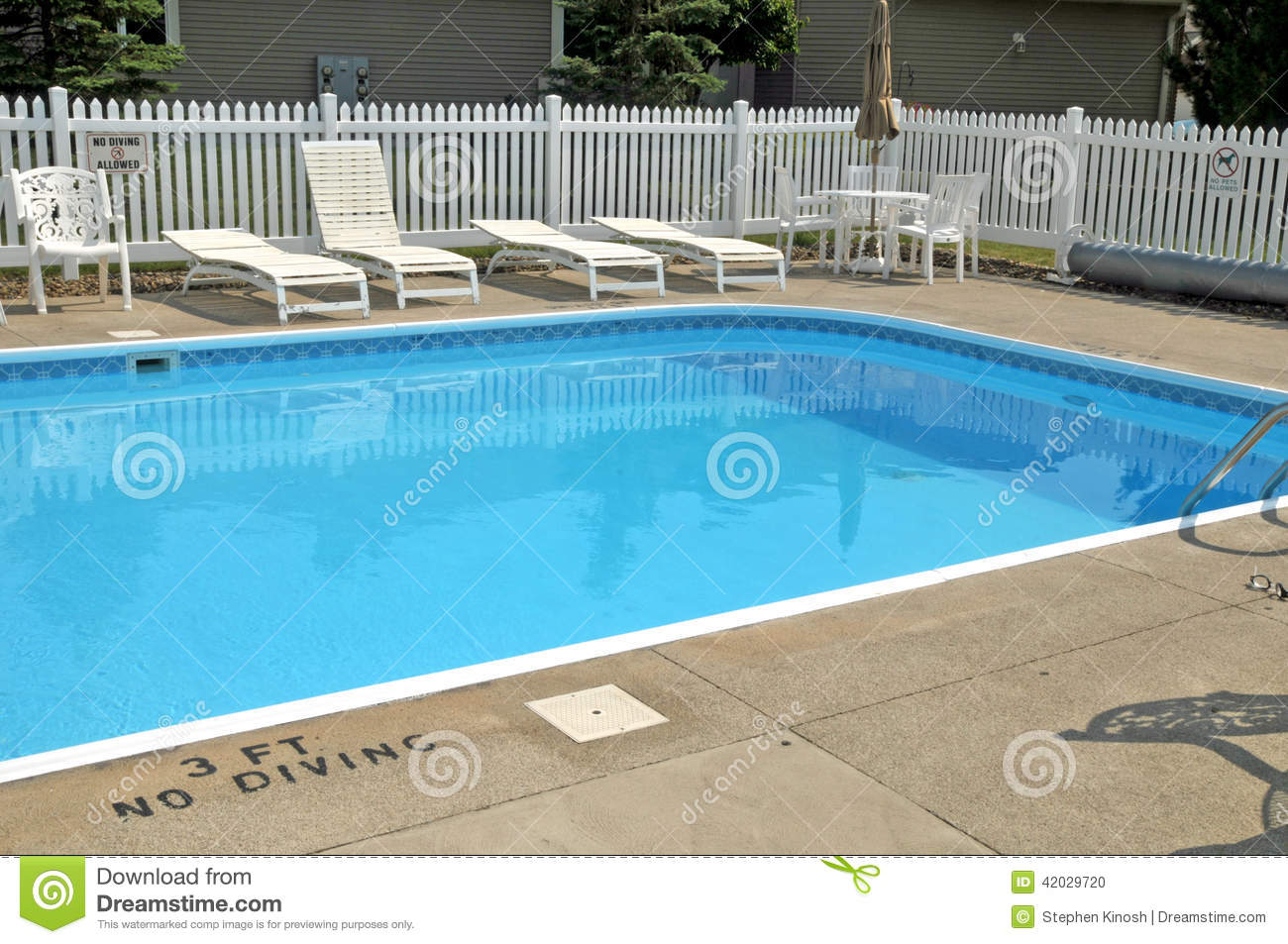 Vinyl Picket Fencing And Swining Pool Stock Photo Image 42029720