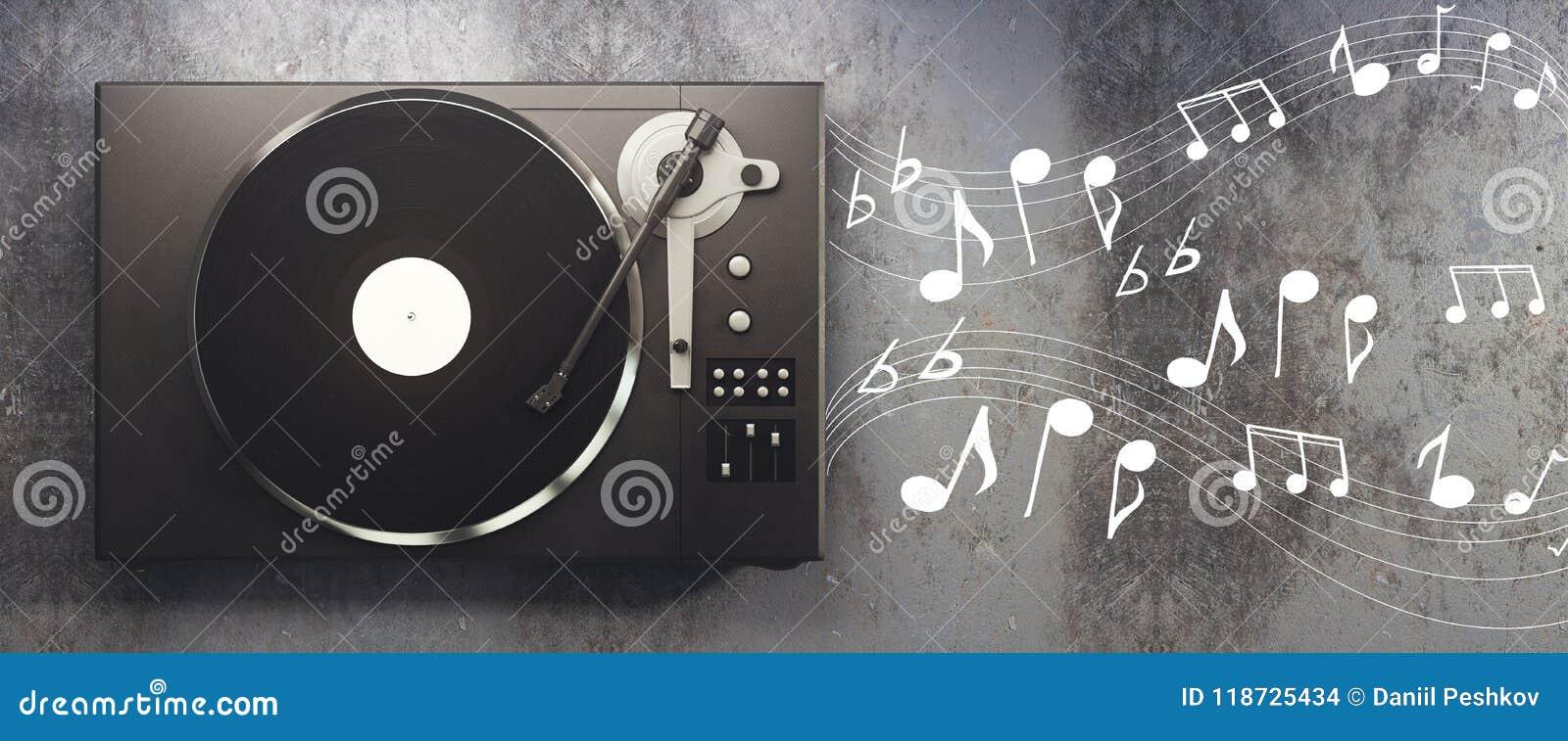 Vinyl Player On Concrete Background Stock Illustration