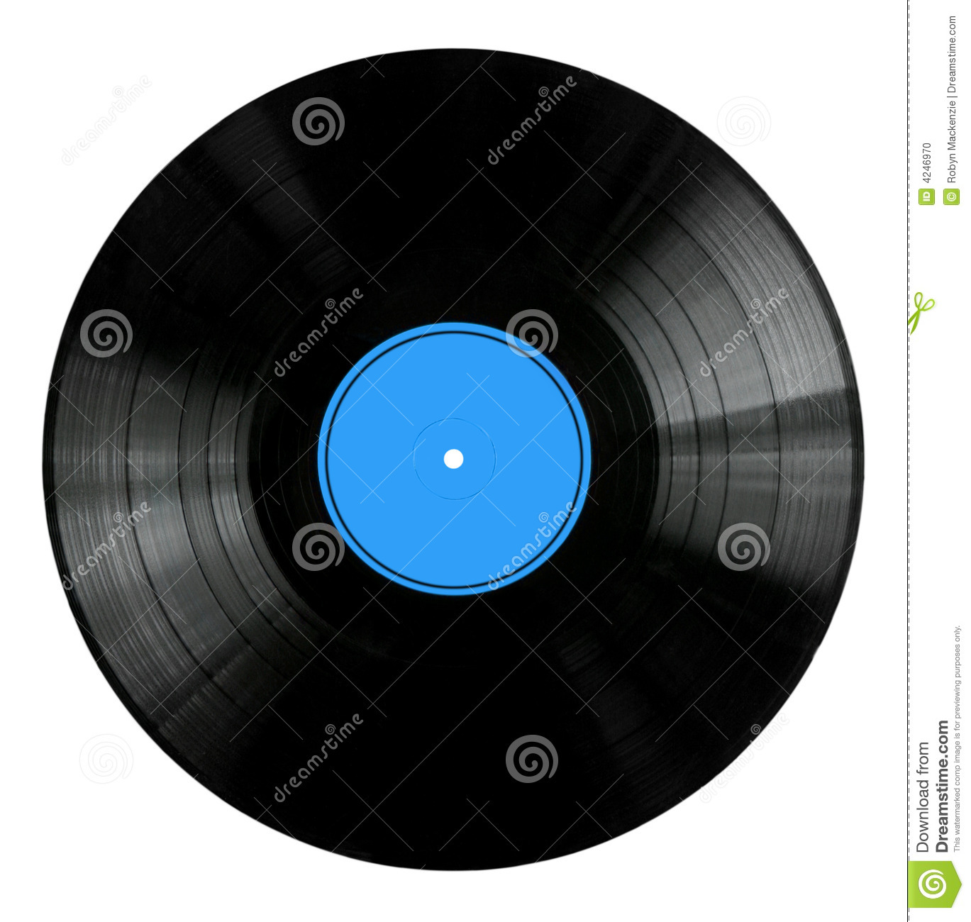 Vinyl Record With Blue Label Stock Photo Image 4246970