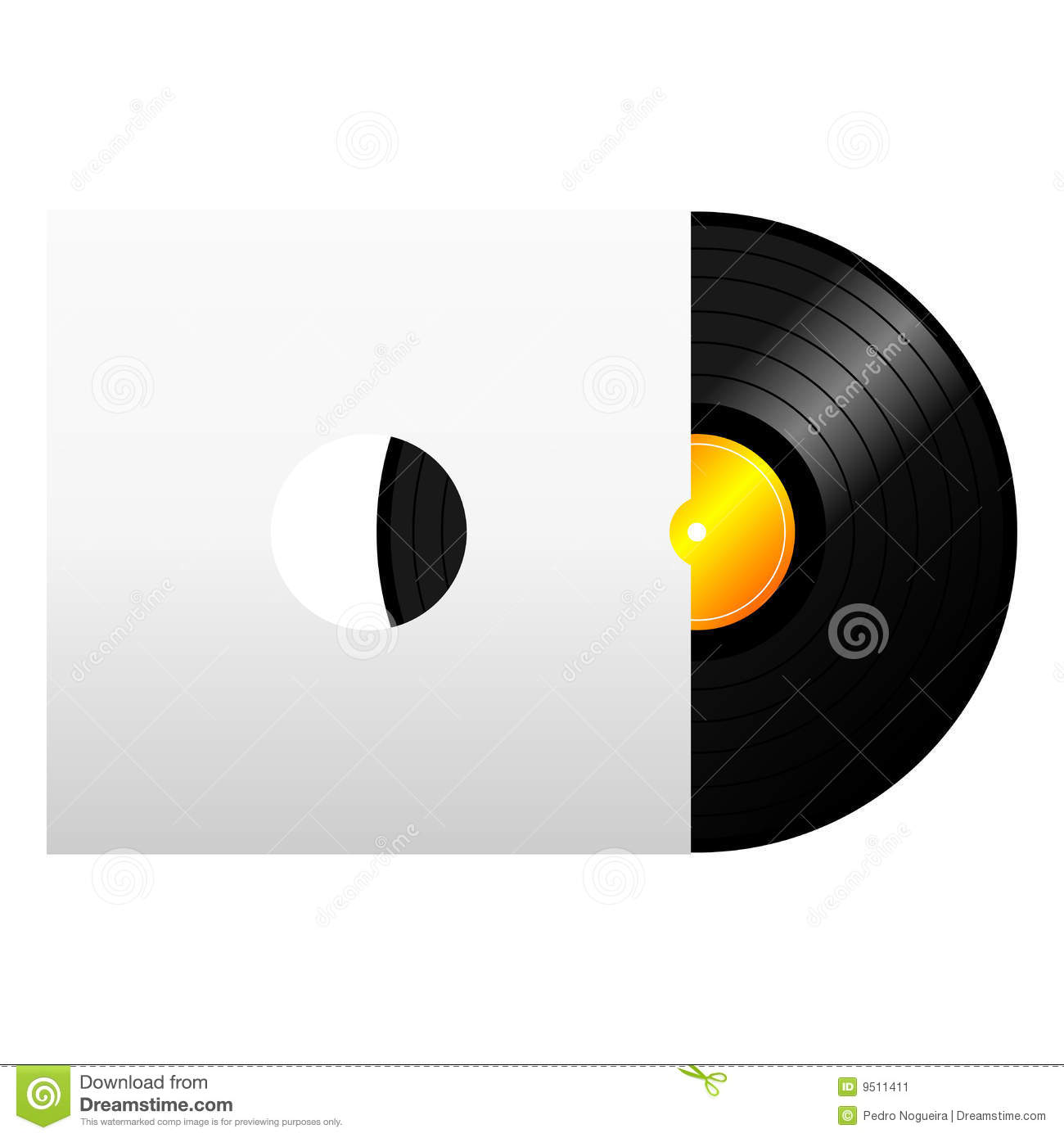 Vinyl Record With Cover Stock Image - Image: 9511411