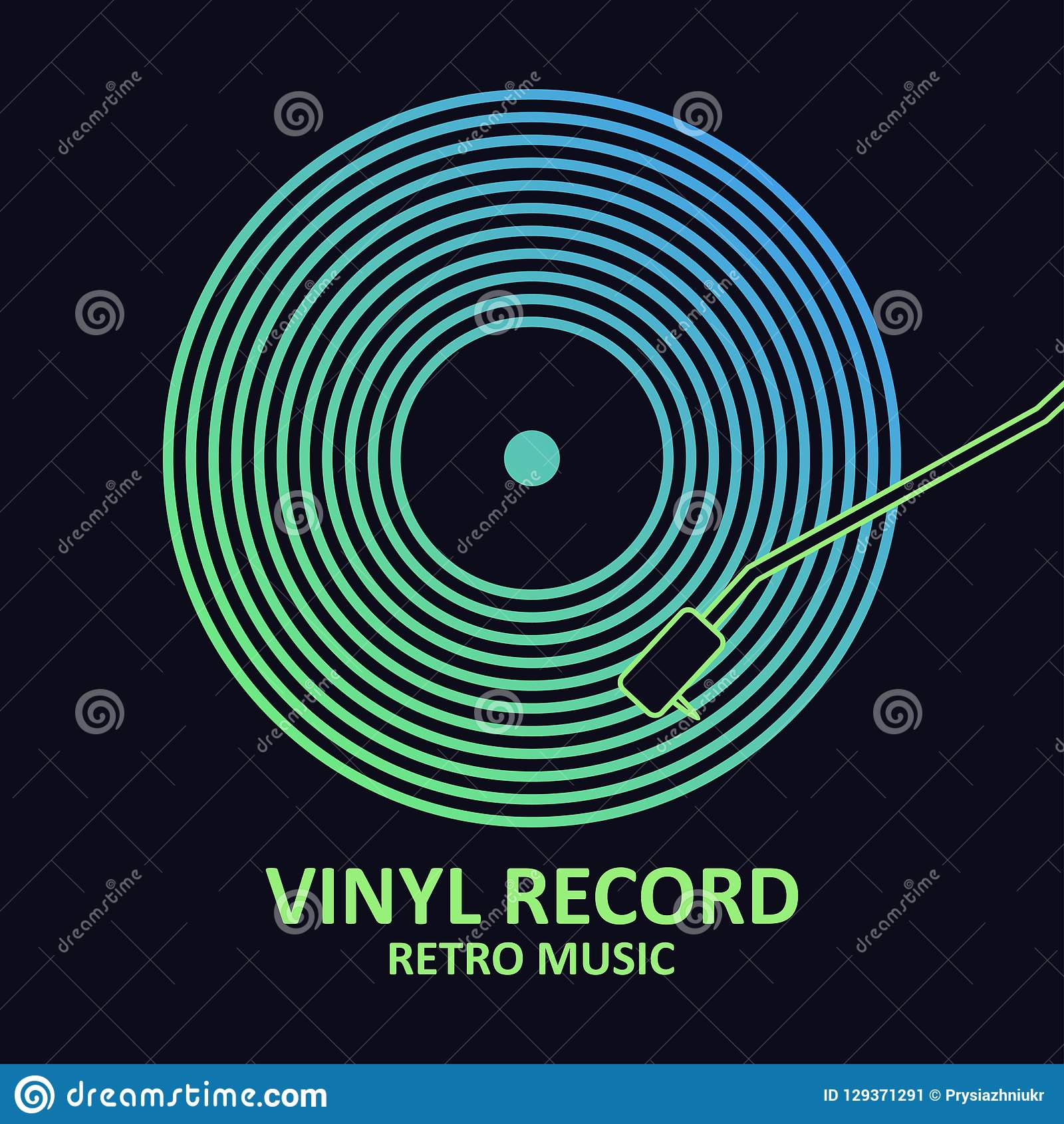 Vinyl record. Music poster with vinyl disc. Design for musical cover or logo. Vector.