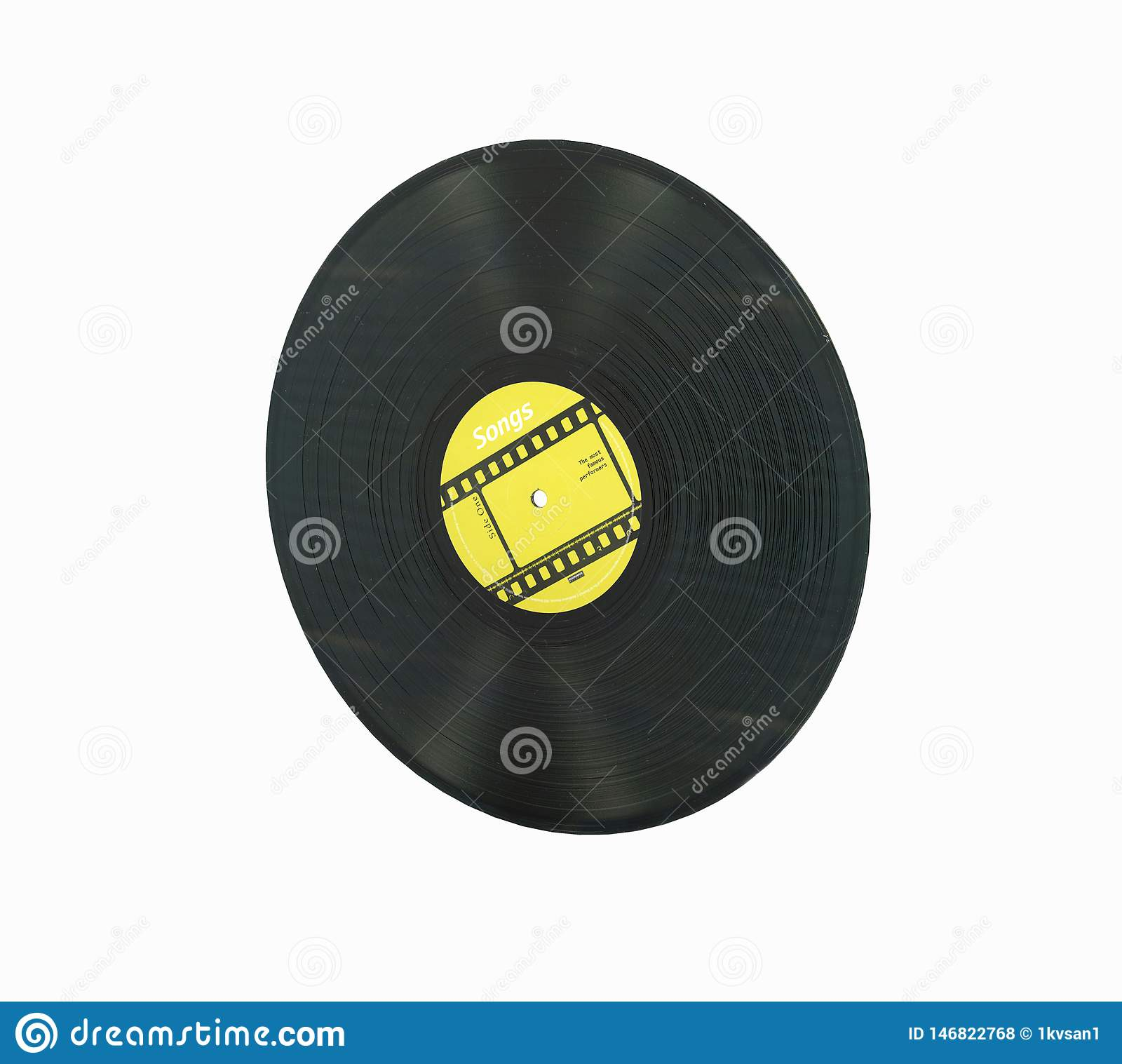 Vinyl record retro sound without shadow on white background 3d