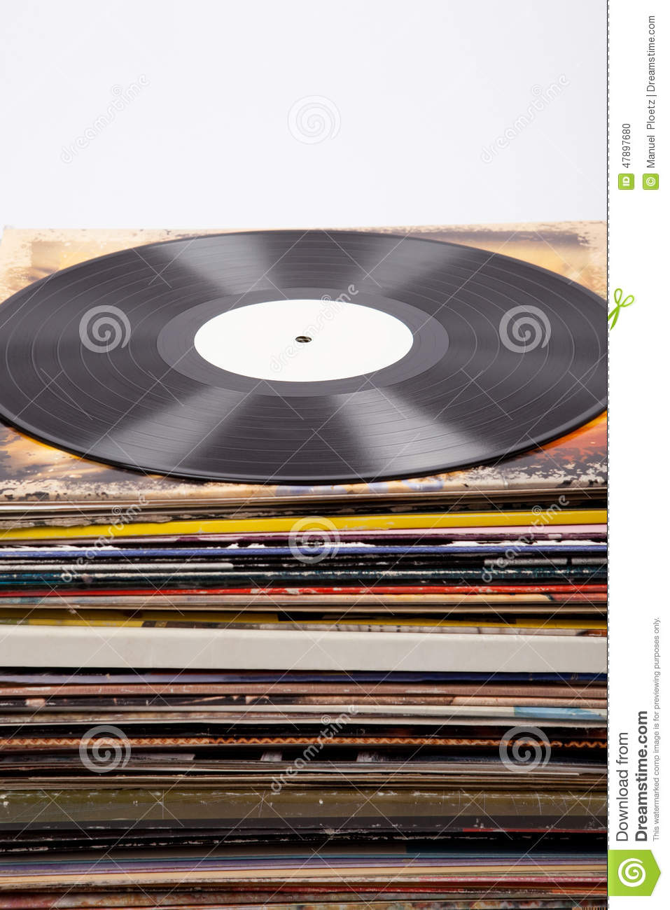 Vinyl Record With White Label On Album Covers White