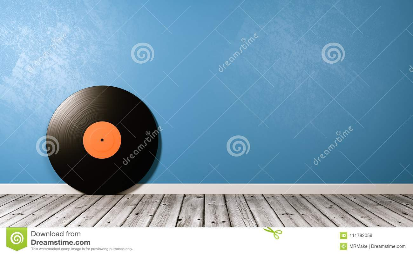Vinyl Record on Wooden Floor Against Wall