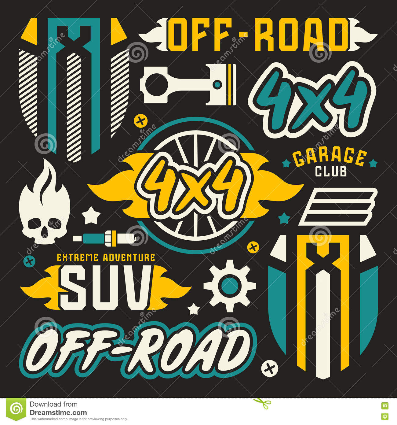 Vinyl Stickers And Badges For Off Road Car Stock Vector