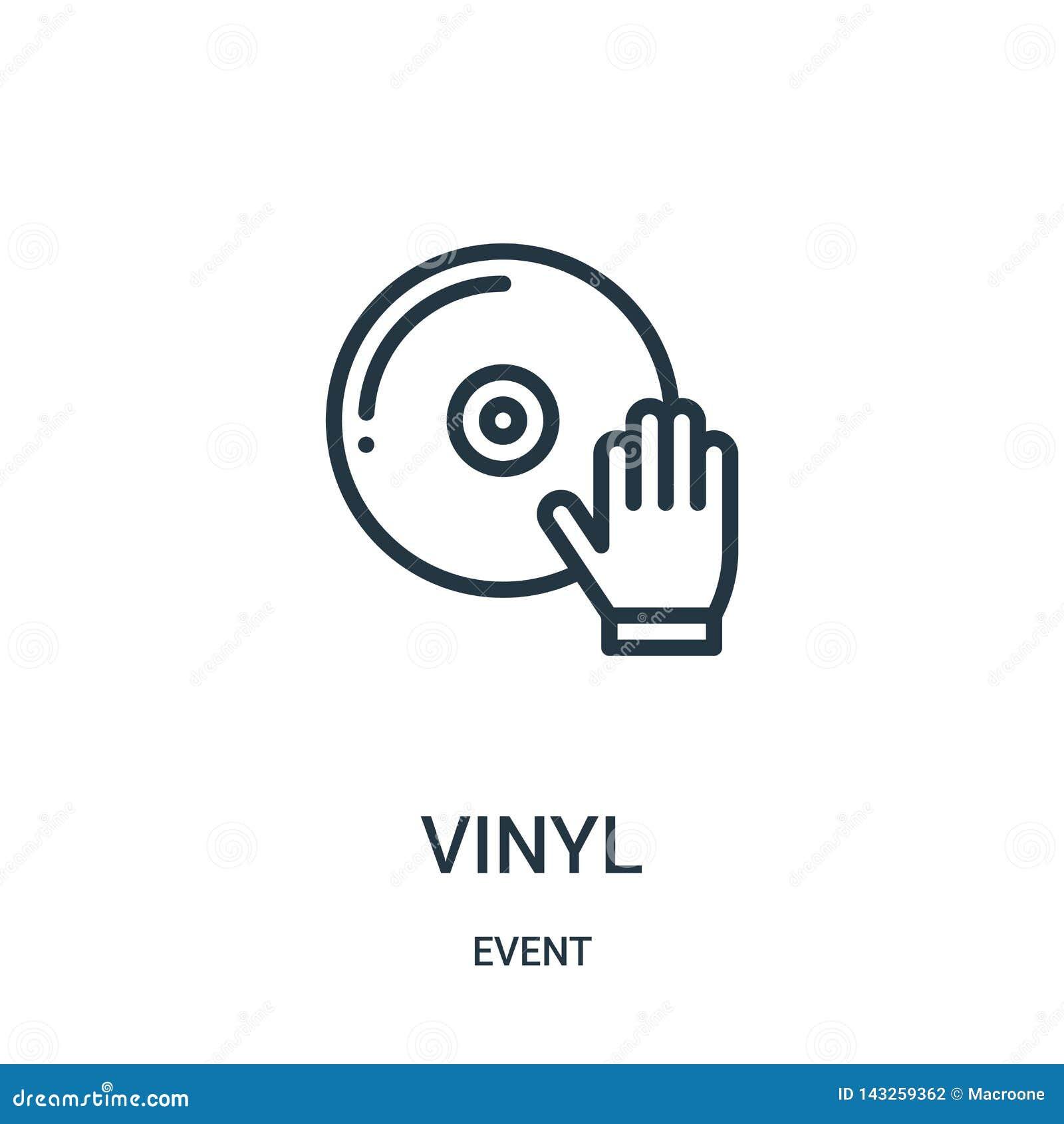Vinylsymbolsvektor från händelsesamling Tunn linje illustration f?r vektor f?r vinyl?versiktssymbol