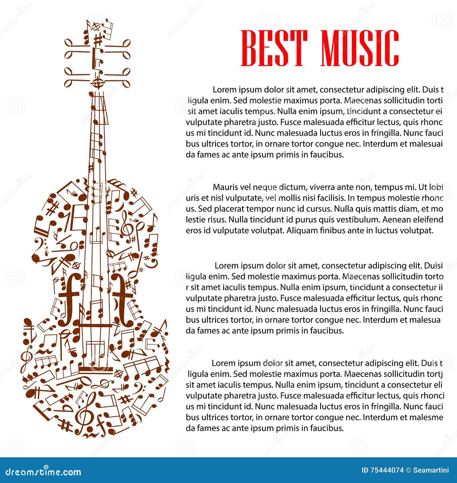 Violín Con Las Notas Musicales Para El Diseño De La Plantilla De Los ...