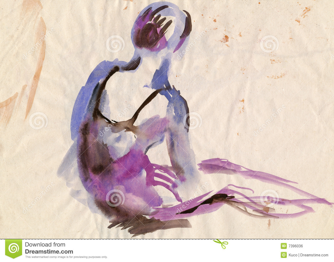 Violet Ballerina, Drawing Royalty Free Stock Image - Image: 7396036