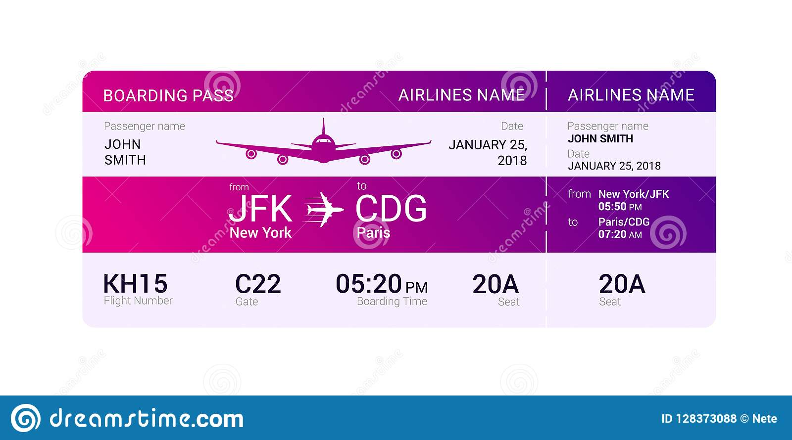Violet Boarding Pass Stock Vector Illustration Of Background