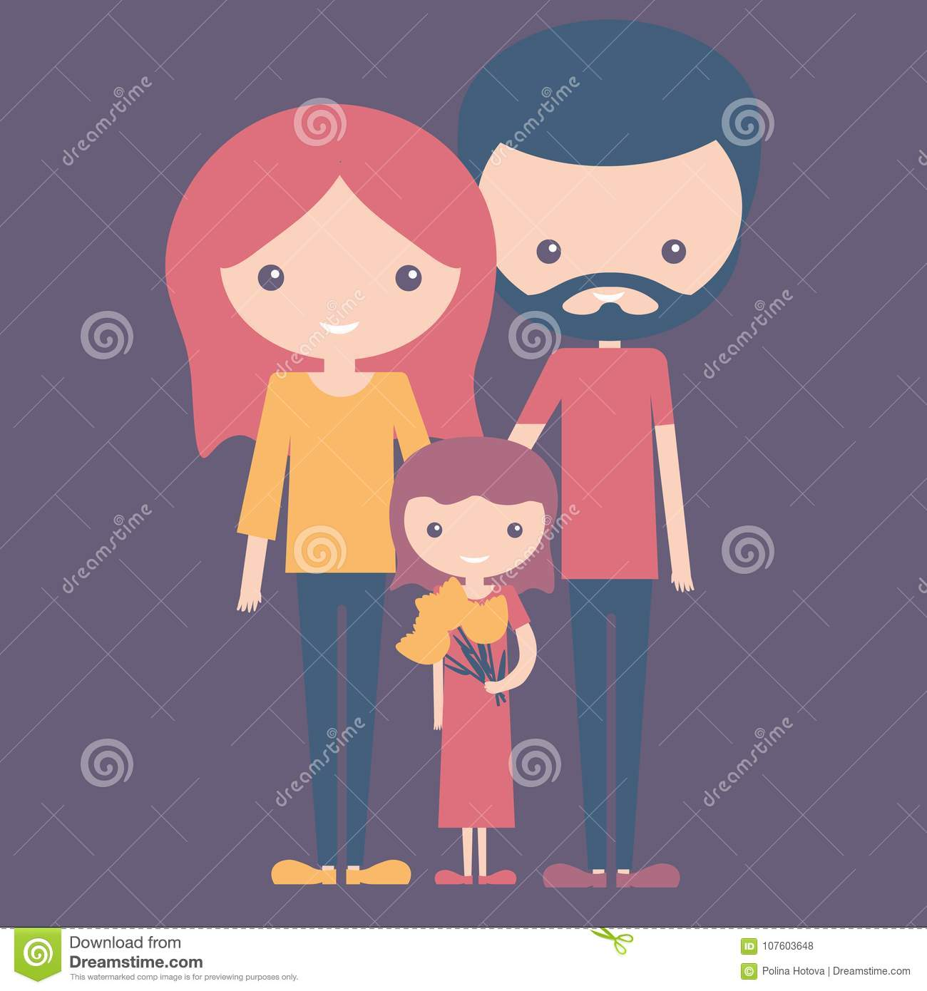 Violet color concept of young happy family mom dad and daughter