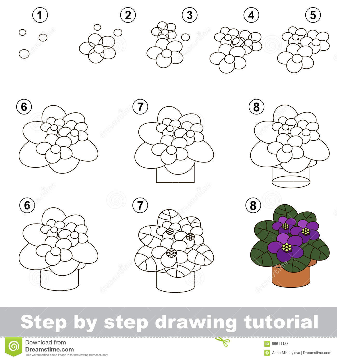 Violet Drawing Tutorial Stock Vector Illustration Of Child 69611138