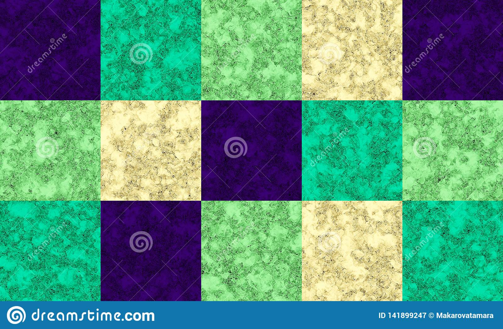 Violet, emerald, green and cream color marble texture, tile pattern