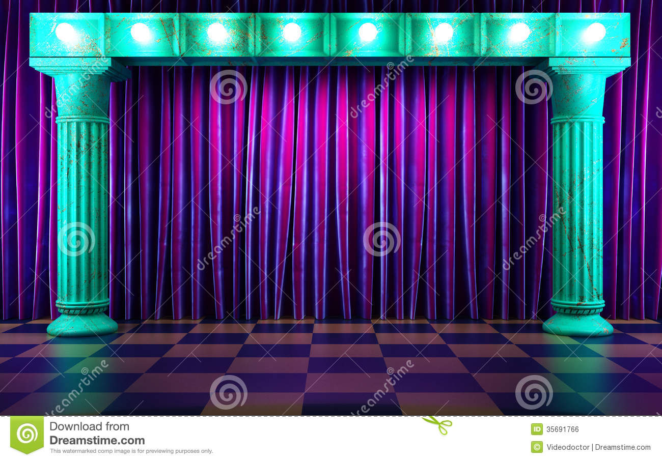 Violet Fabric Curtain On Stage Royalty Free Stock Image - Image ...