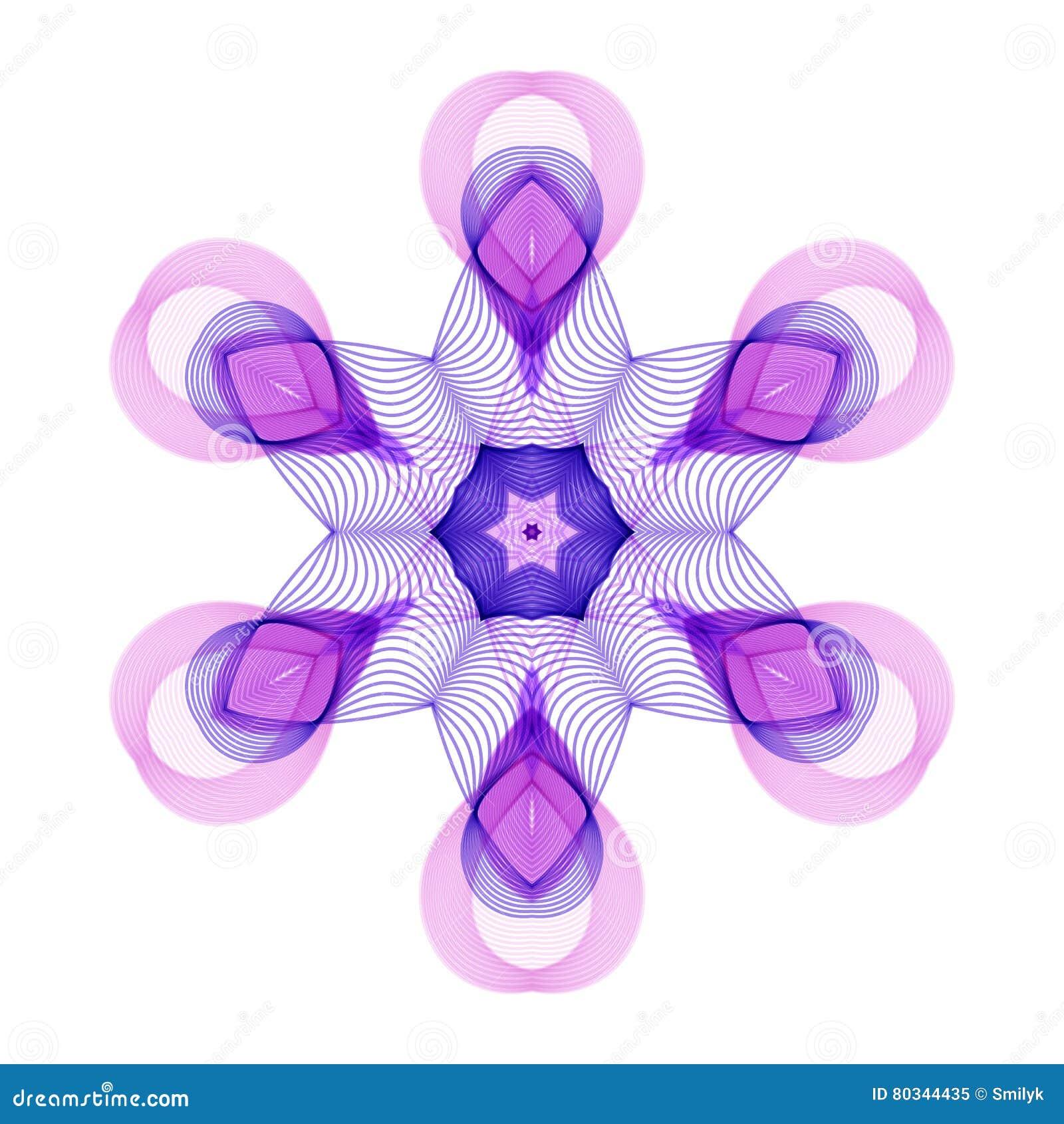 Violet Flower hexagonale stylisée géométrique sur le fond blanc