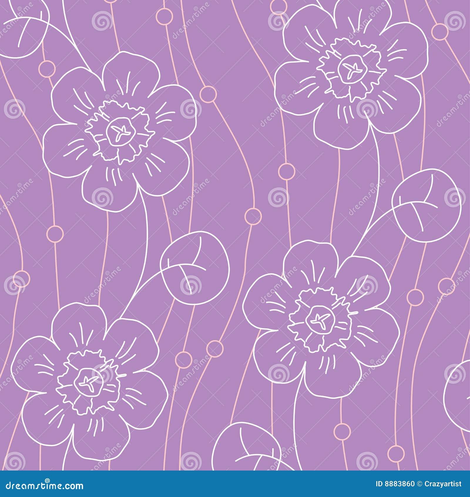 Violet flowers seamless pattern