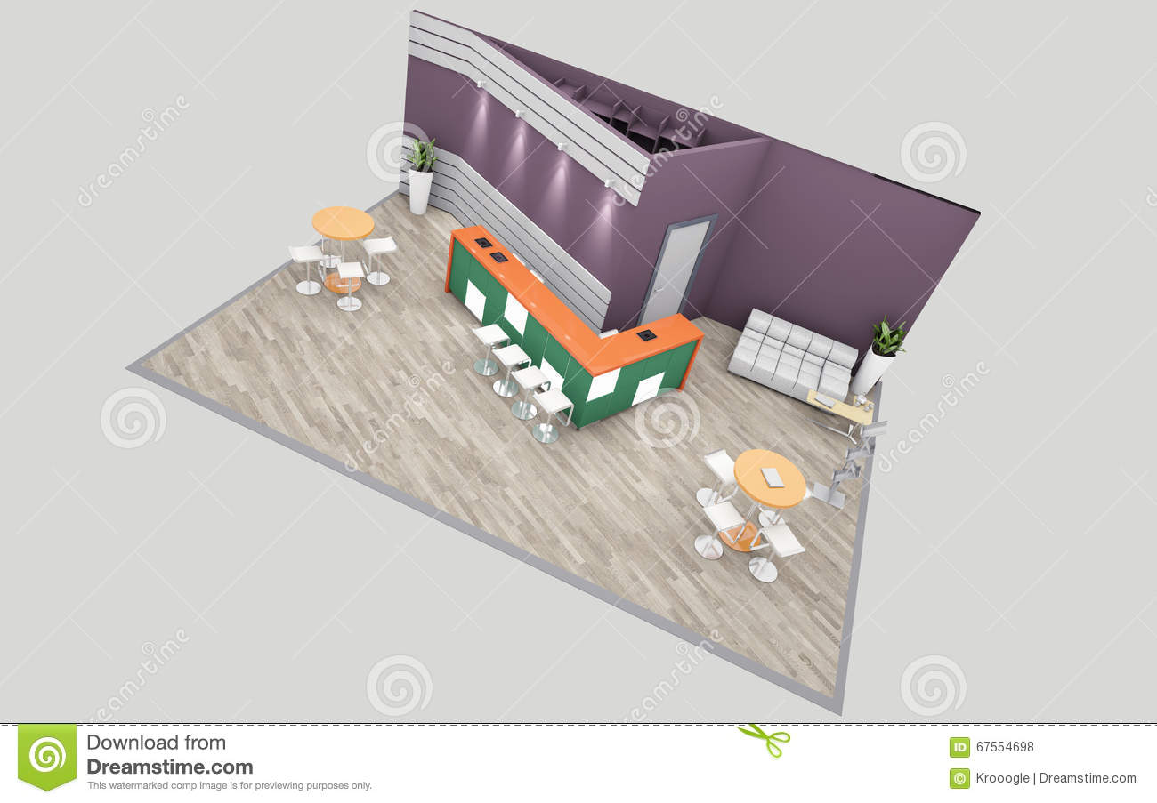 Exhibition Stand Drawing : Violet and green exhibition stand 3d rendering stock illustration
