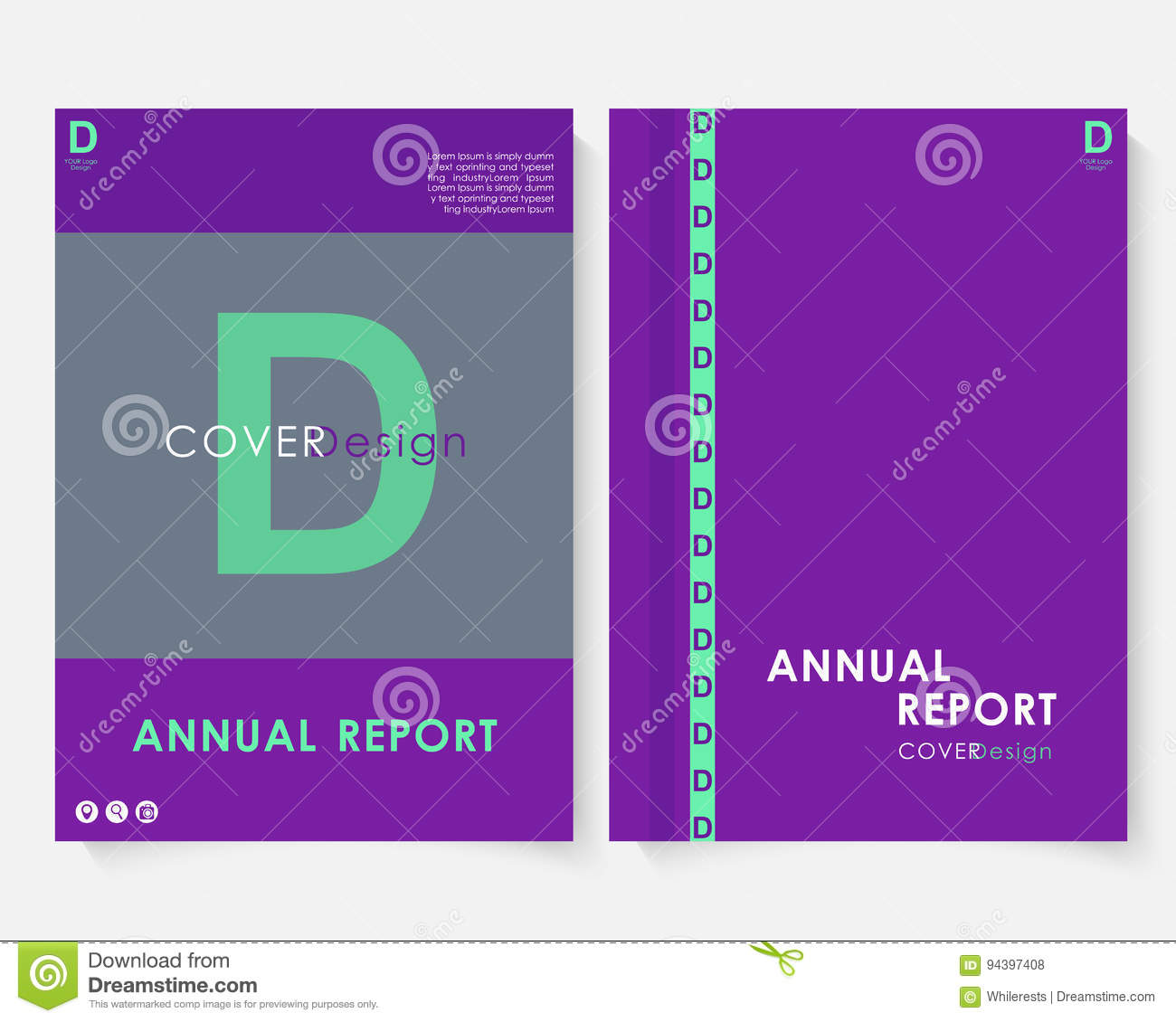 Violet Marketing Cover Design Template For Annual Report Vector Modern Minimalist Business Powerpoint Concept Booklet