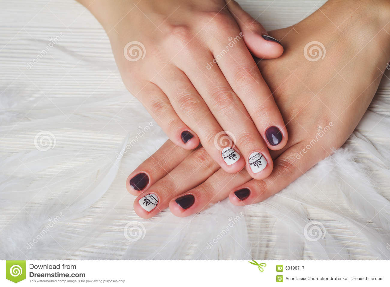 Violet Nail Art With Printed White Bow Stock Image Image Of Care