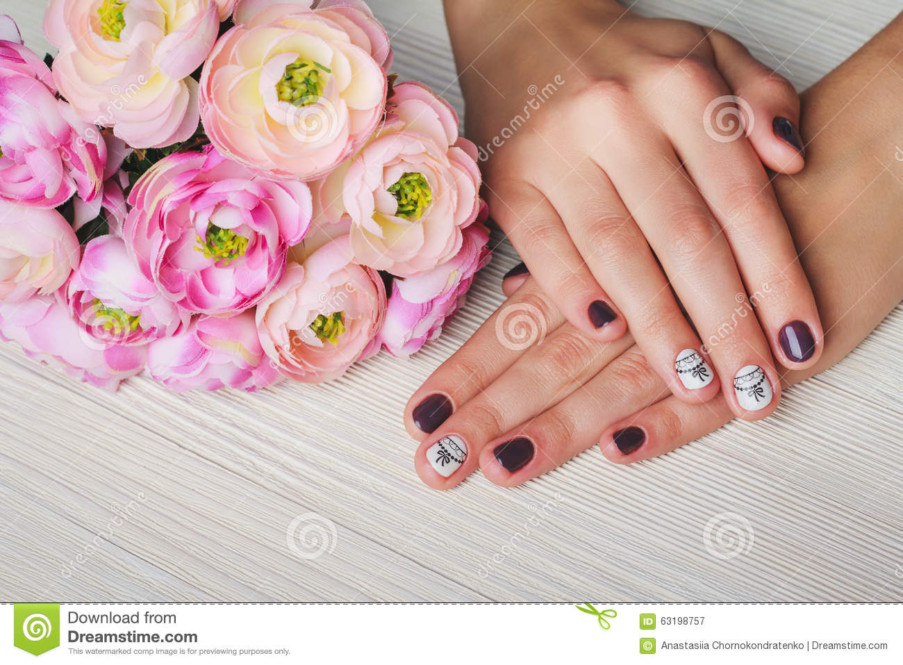 Violet Nail Art With Printed White Bow Stock Image Image Of