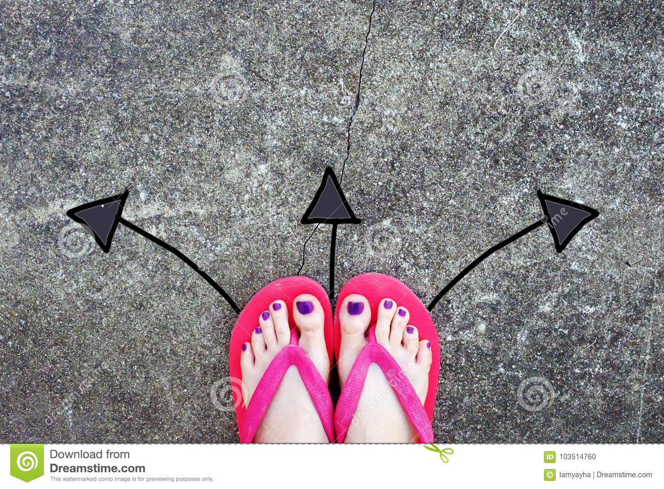 2c68c78a6294 Violet Nail Pedicure. Woman s Sandals Feet with Arrows Drawn Choices  Direction on Cement Background