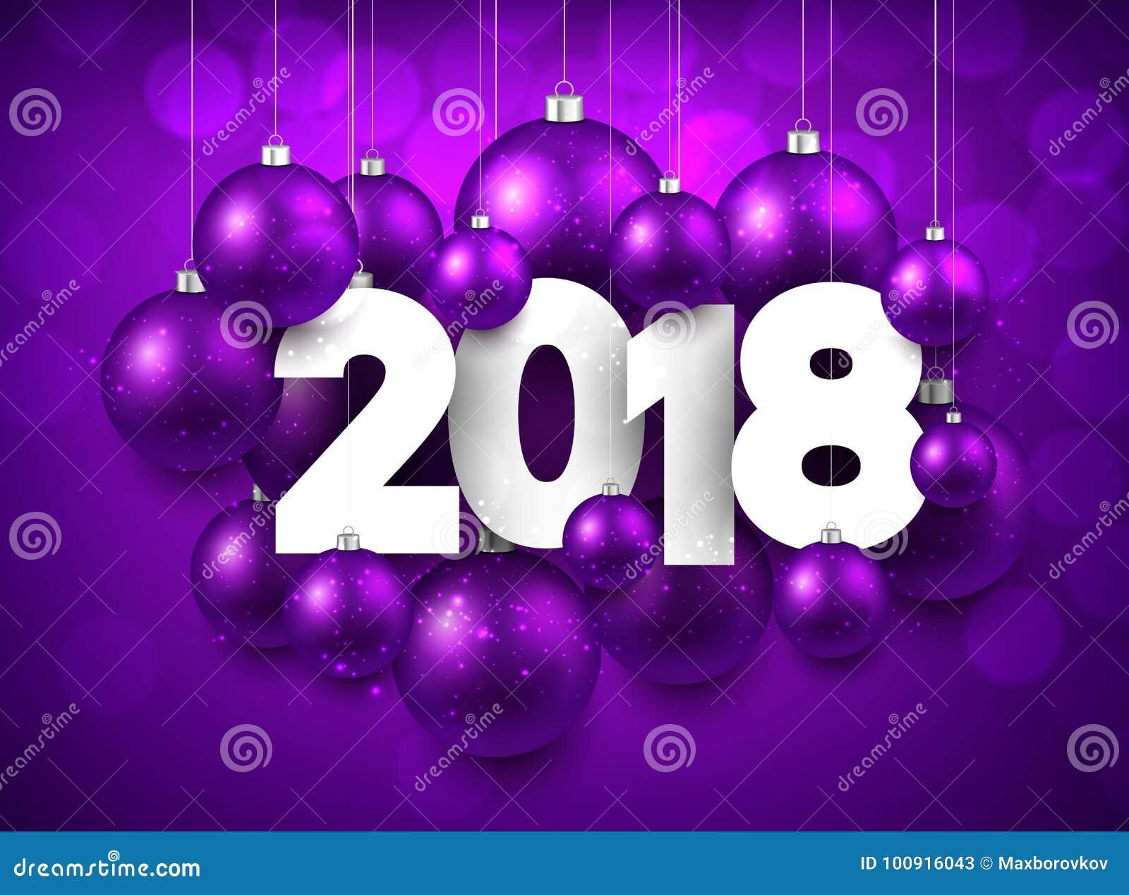 purple 2018 new year background