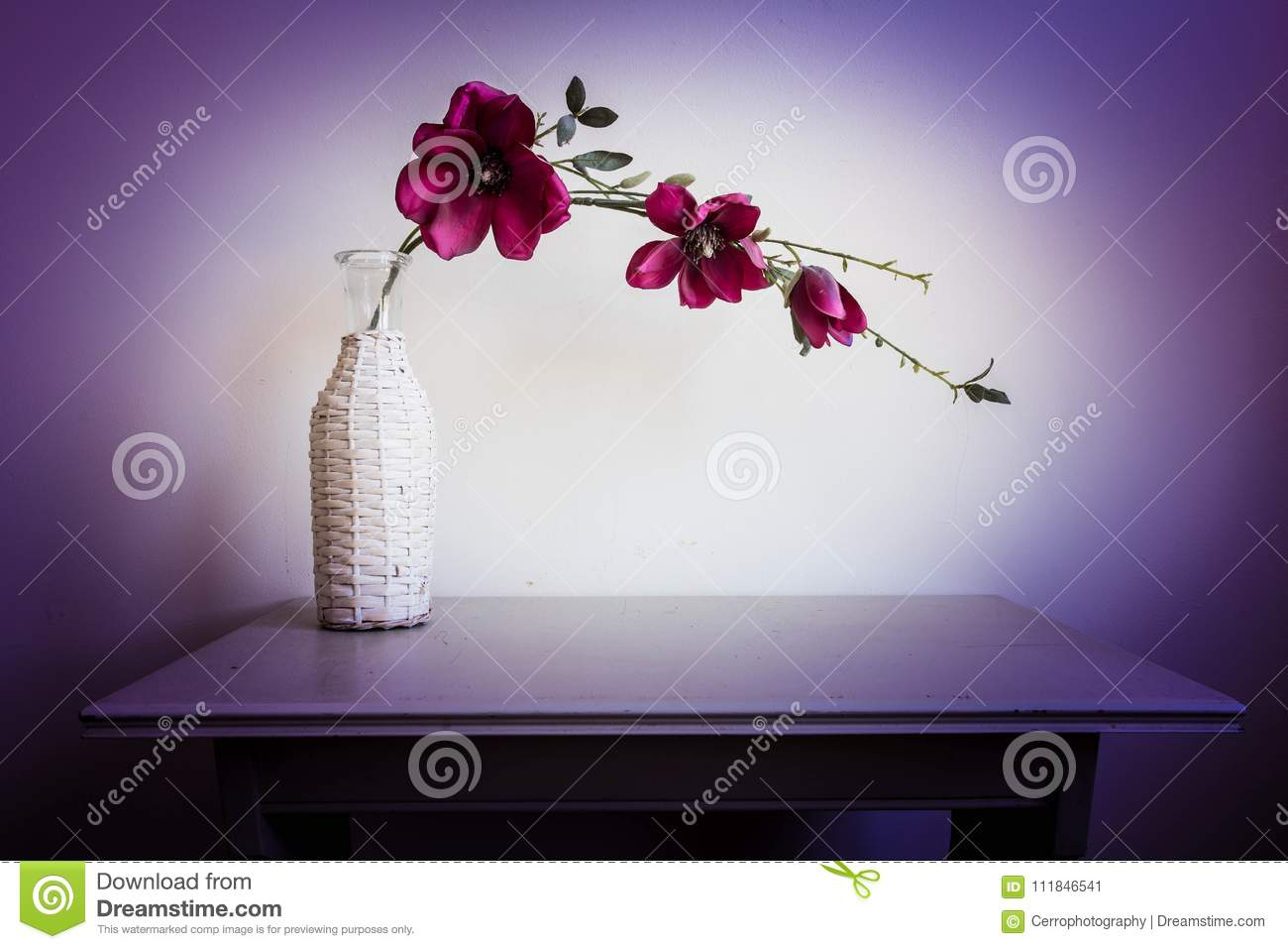 Violet orchid flowers in white vase
